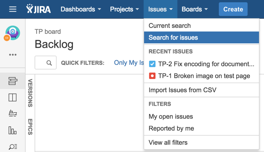 "Select the option ""Search for issues"" in JIRA"