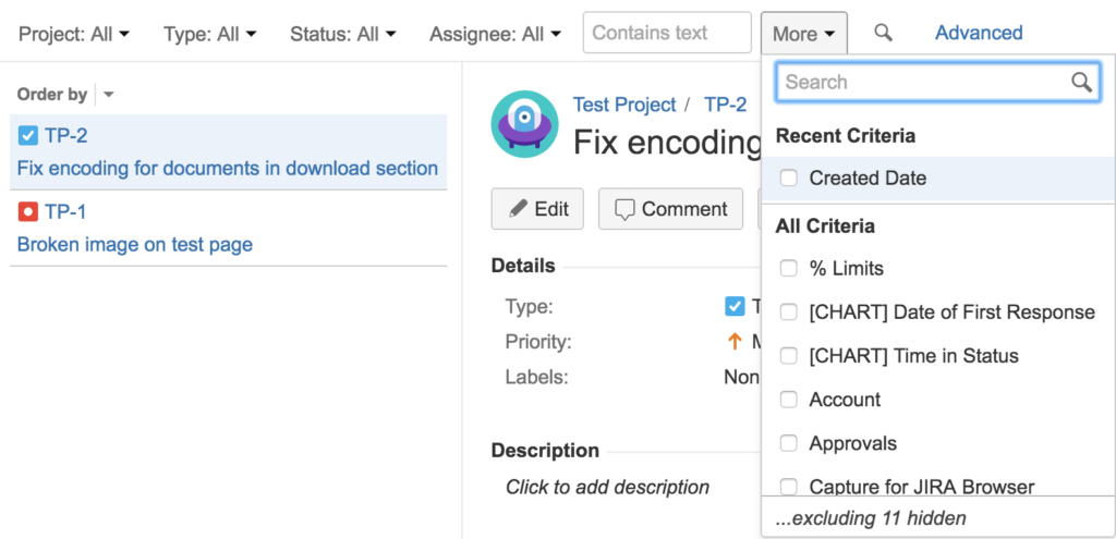 Search for details of your JIRA issue