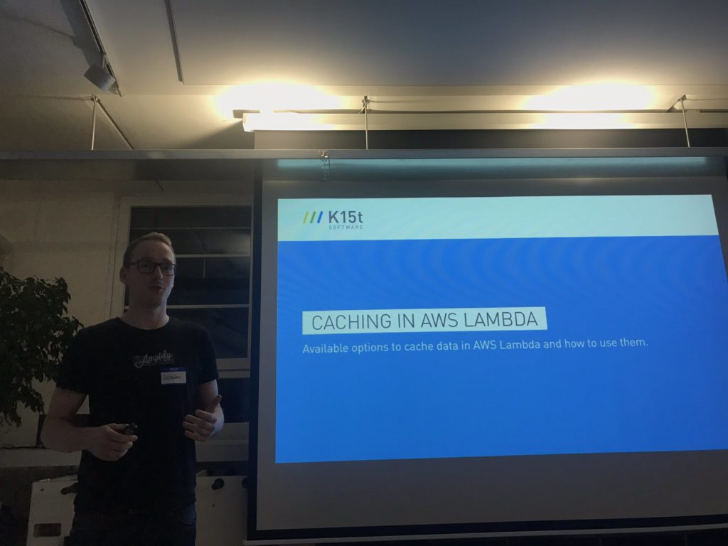 Me presenting Caching in AWS Lambda