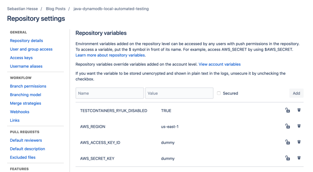 Environment Variables for correct setup with Bitbucket Pipelines.